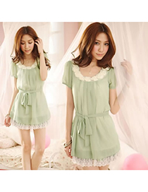 Hooters Green Flower Collar Chiffon Fit Slim Dress Chiffon Long Dress