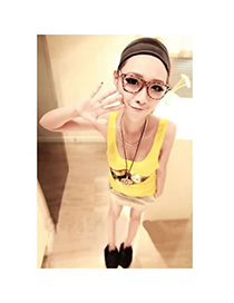 Engraved Yellow Fashion Paillette Camisole Vest Cotton Tshirt