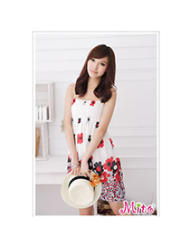 Trendy White+pink O Shape Neckline Design Matching Color Sleeveless Dress