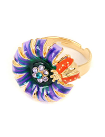 Layered Purple Big Flower And Ladybird Alloy Fashion Rings