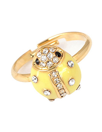 Quality Yellow Blink Ladybird Shape Alloy Fashion Rings