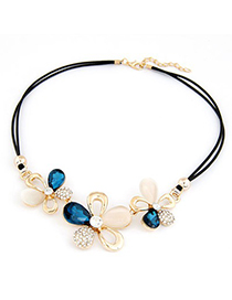 Summer Sapphhire Gemstone Flower Decorated Design Alloy Bib Necklaces