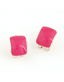 Costume Plum Red Candy Color Bend Simple Design Alloy Stud Earrings