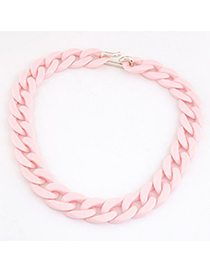 Hippie Pink Candy Color Simple Chain Design CCB Korean Necklaces