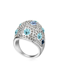 Homecoming Navy Blue Full Of Diamond Wide Surface Design Austrian Crystal Crystal Rings