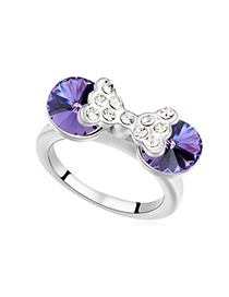 Winter Tanzanite Diamond Decorated Bowknot Design Austrian Crystal Crystal Rings