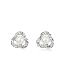 Hippie White Three-Leaf Clover Shape Design Pearl Crystal Earrings