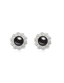 Micro Black Elegant Flower Shape Design Pearl Crystal Earrings