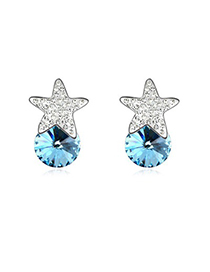 2011 Navy Blue Five-Pointed Star Decorated Austrian Crystal Crystal Earrings