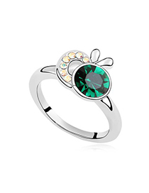 Flamenco Green Apple Shape Decorated Austrian Crystal Crystal Rings