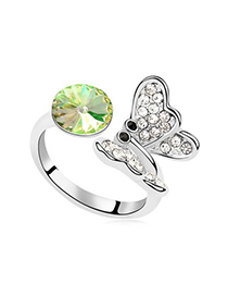 Exquisite Luminous Green Full Of Diamond Butterfly Decorated Austrian Crystal Crystal Rings