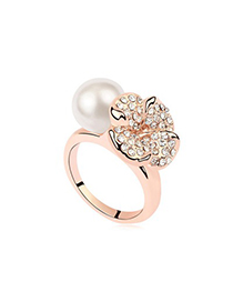 Writing White&Champagne Gold Flower Decorated Design Pearl Crystal Rings