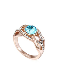 Sample Light Blue&Champagne Gold Hemp Flowers Shape Design Austrian Crystal Crystal Rings