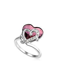 Rolling Pink Heart Link Heart Design Austrian Crystal Crystal Rings