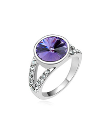 Aamazing Tanzanite Round Shape Simple Design Austrian Crystal Crystal Rings