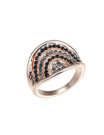 Lush Black&Rose Gold Multilayer Bow Shape Diamond Decorated Austrian Crystal Crystal Rings