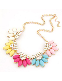 Propper Multicolor Metal Inlaid Diamond Flower Design Alloy Korean Necklaces