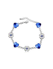 High Waist Blue Flower Heart Decorated Austrian Crystal Crystal Bracelets