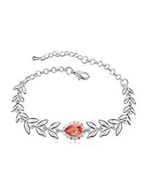 Preppy Padparadscha Leaf Shape Link Design Austrian Crystal Crystal Bracelets