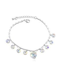Punk Color White Elegant Heart Shape Decorated Austrian Crystal Crystal Bracelets