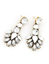 Juniors White Tree Leaf Temperament Design Alloy Stud Earrings