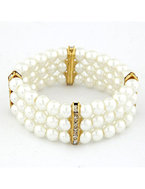 Aquamarine Gold Color Three Layers Pearl Weave Design Alloy Korean Fashion Bracelet