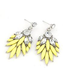 Personal Yellow Bohemia  Leaves Temperament Design Alloy Stud Earrings