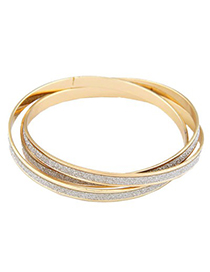 Connor Gold Color 3 Pcs Simple Circle Combination Alloy Fashion Bangles