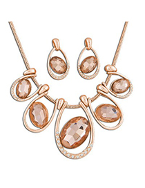 Evil Champagne Oval Gemstone Round Snake Temperament Design Alloy Jewelry Sets