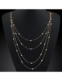 Equestrian Gold Color Pearl Decorated Multilayer Thin Chain Design