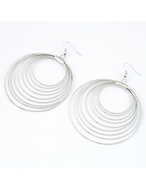 Cherokee Silver Color nine metal circles together Alloy Korean Earrings