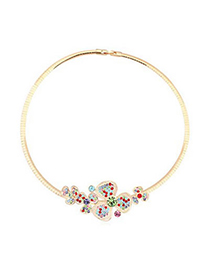 Cheerleadi Multicolor&Champagne Gold Various Size Flowers Decorated Austrian crystal Crystal Necklaces