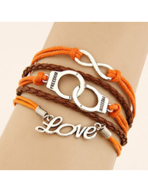 Renaissanc Orange Word Love&Handcuffs Decorated Multilayer Design Alloy Korean Fashion Bracelet