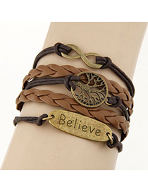 Premier Coffee Lucky Tree&Digital 8 Decorated Multilayer Design Alloy Korean Fashion Bracelet