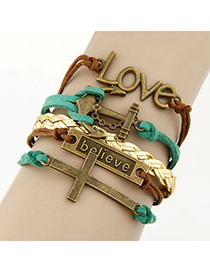 Retro Black+green Bronze Metal Anchor Decorated Double Layer Bracelet