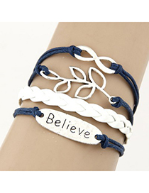 Collar Dark Blue Metal Leaf&Word 8 Decorated Alloy Korean Fashion Bracelet