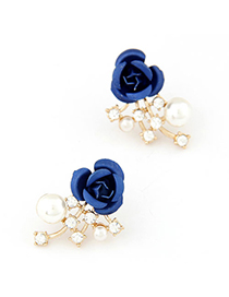 Mechanical dark blue rose flower decorated design