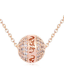 Unusual white & rose gold ball shape decorated simple design zircon Crystal Necklaces