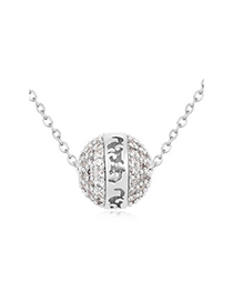 Genuine white ball shape decorated simple design zircon Crystal Necklaces