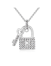 Special black diamond decorated key lock pendant design crystal Crystal Necklaces