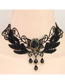 Fashion Black Bowknot&diamond Decorated Choker