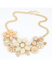 Skinny beige gemstone decorated bauhinia flower design alloy Bib Necklaces