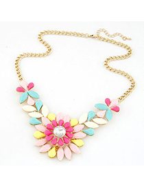 Locket multicolor gemstone decorated flower design short style alloy Bib Necklaces