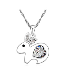 Active white diamond decorated rabbit pendant design alloy Crystal Necklaces