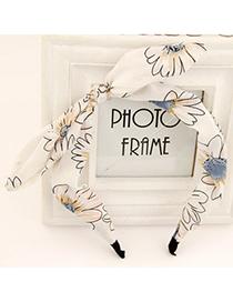 Beautiful white flower pattern bowknot design fabric Hair band hair hoop