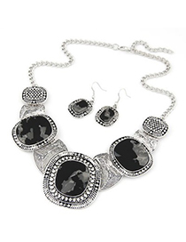 Disposable black gemstone decorated round design alloy Jewelry Sets