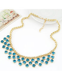 Drawstring navy blue CZ diamond decorated Multi-level design alloy Fashion Necklaces