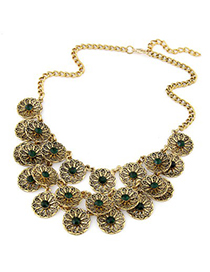 Scrabble dark green CZ diamond decorated flower design alloy Korean Necklaces