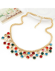 Charm multicolor CZ diamond decorated Multi-level design alloy Fashion Necklaces