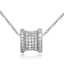 Collapsibl white diamond decorated transport bead design zircon Crystal Necklaces